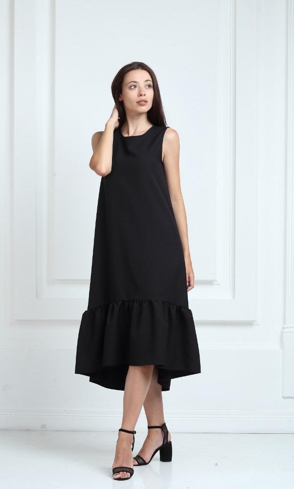 Платье длинное черного цвета с воланами