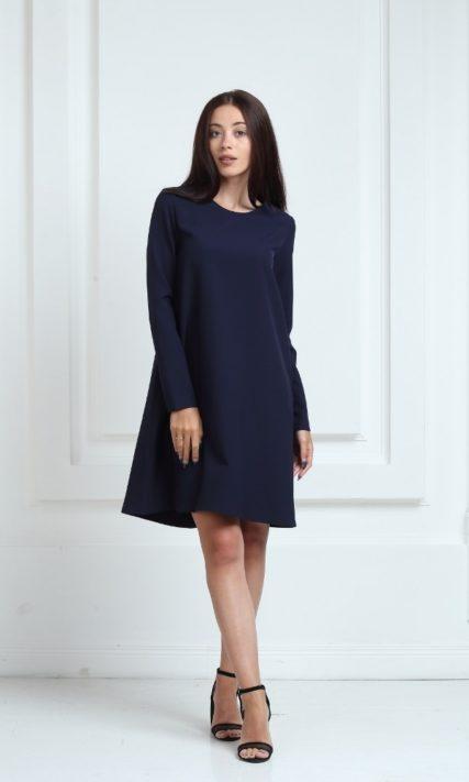 Платье синего цвета с длинными рукавами