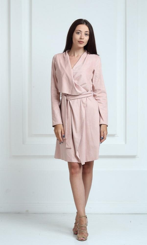 Платье-кардиган замшевое розового цвета