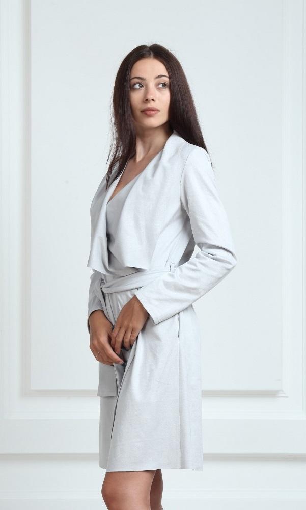 Платье-кардиган замшевое серого цвета
