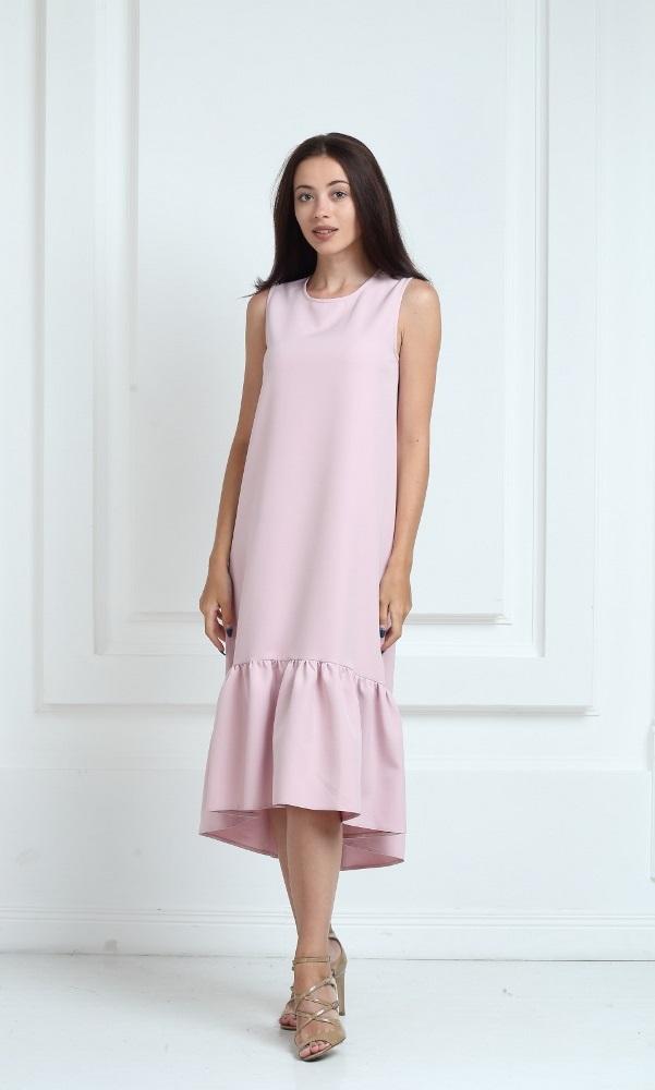Платье длинное цвета пудра с воланами