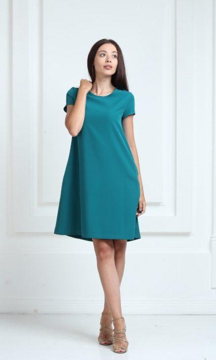Платье зеленого цвета с короткими рукавами