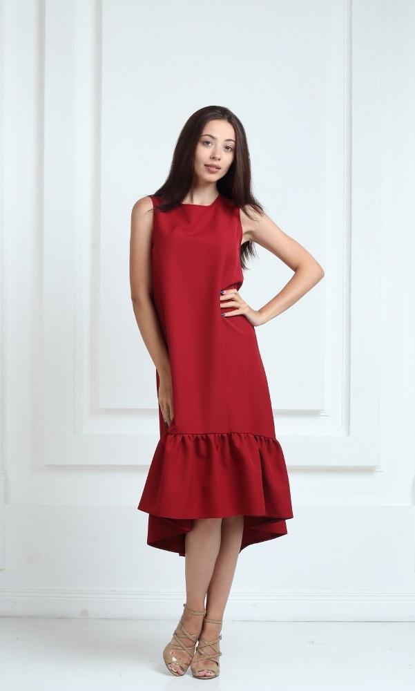 Платье длинное цвета марсала с воланами