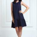 Платье синего цвета с воланами