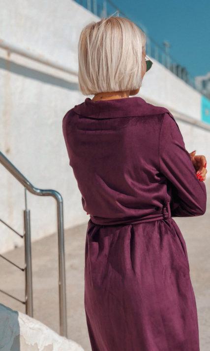 Кардиган цвета марсала из искуственной замши