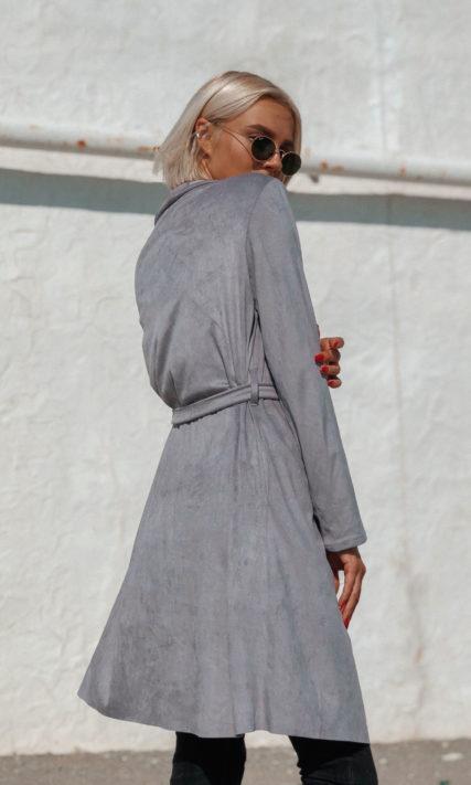 Кардиган серого цвета из искуственной замши